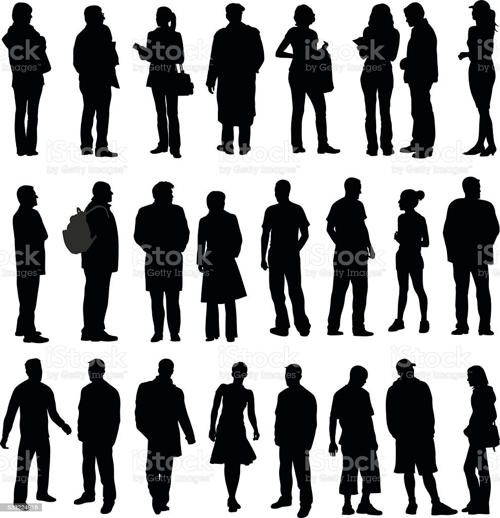 Silhouette Collection Of Various Adults vector art illustration