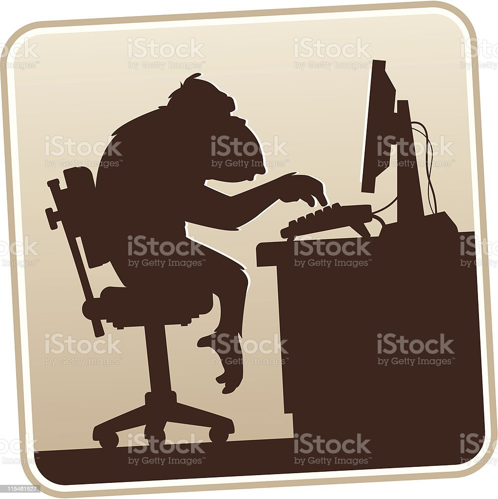 Silhouette Computer Monkey royalty-free stock vector art