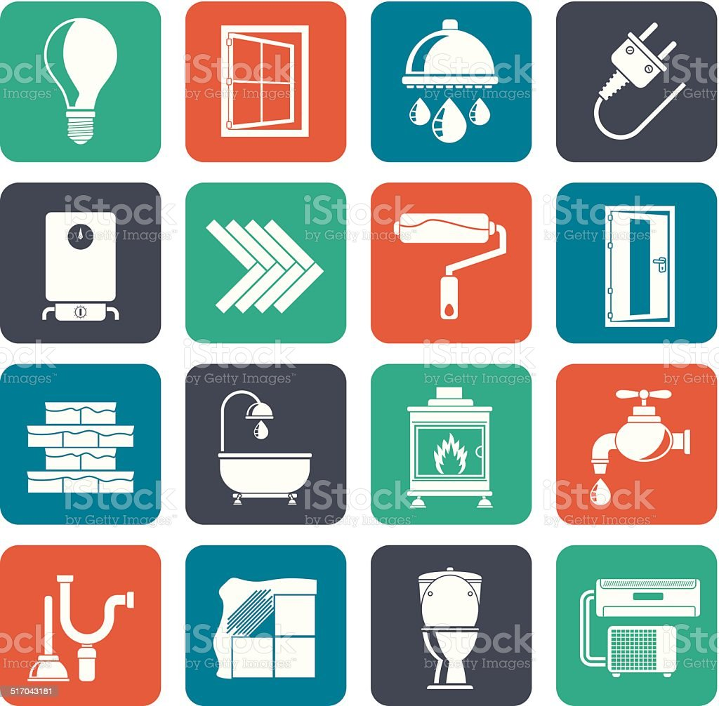 Silhouette Construction and home renovation icons vector art illustration