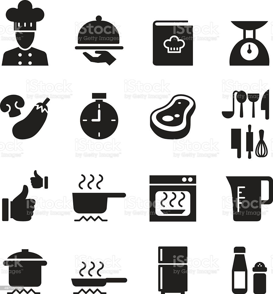 Silhouette Cooking, Restuarant icon set vector art illustration