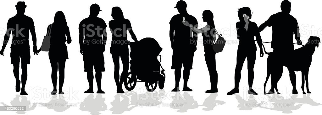 Silhouette Crowd Of Young Couples vector art illustration