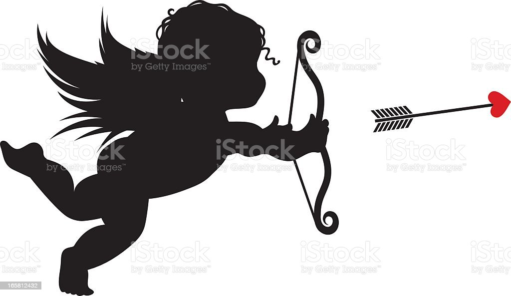 Silhouette Cupid royalty-free stock vector art