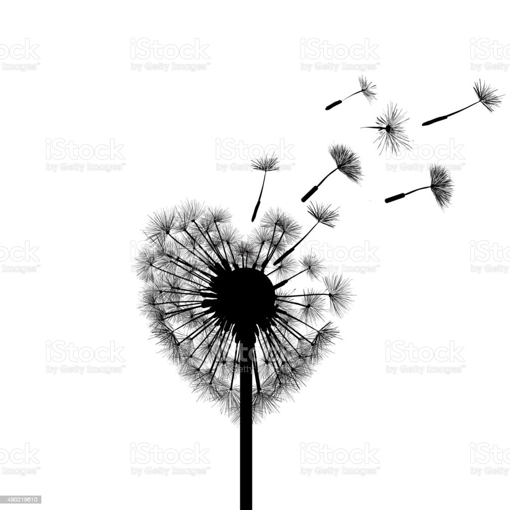 Silhouette dandelion vector art illustration