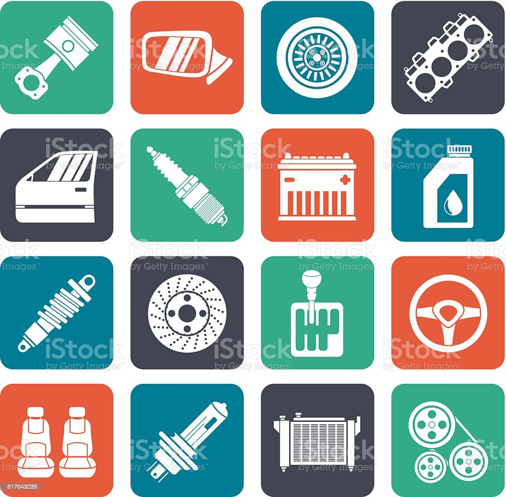 Silhouette Detailed car parts icons vector art illustration