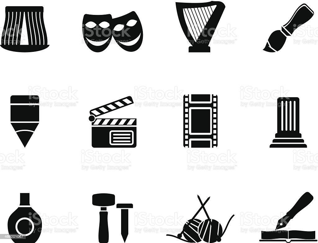 Silhouette Different kind of art icons vector art illustration