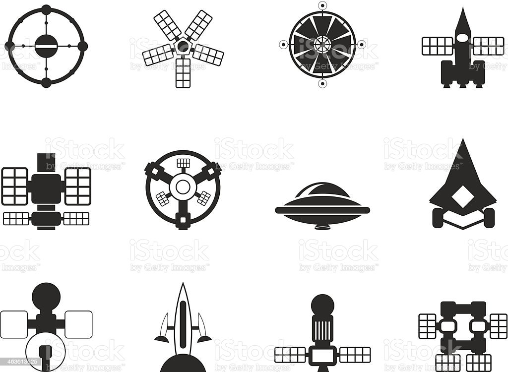 Silhouette different kinds of future spacecraft icons royalty-free stock vector art