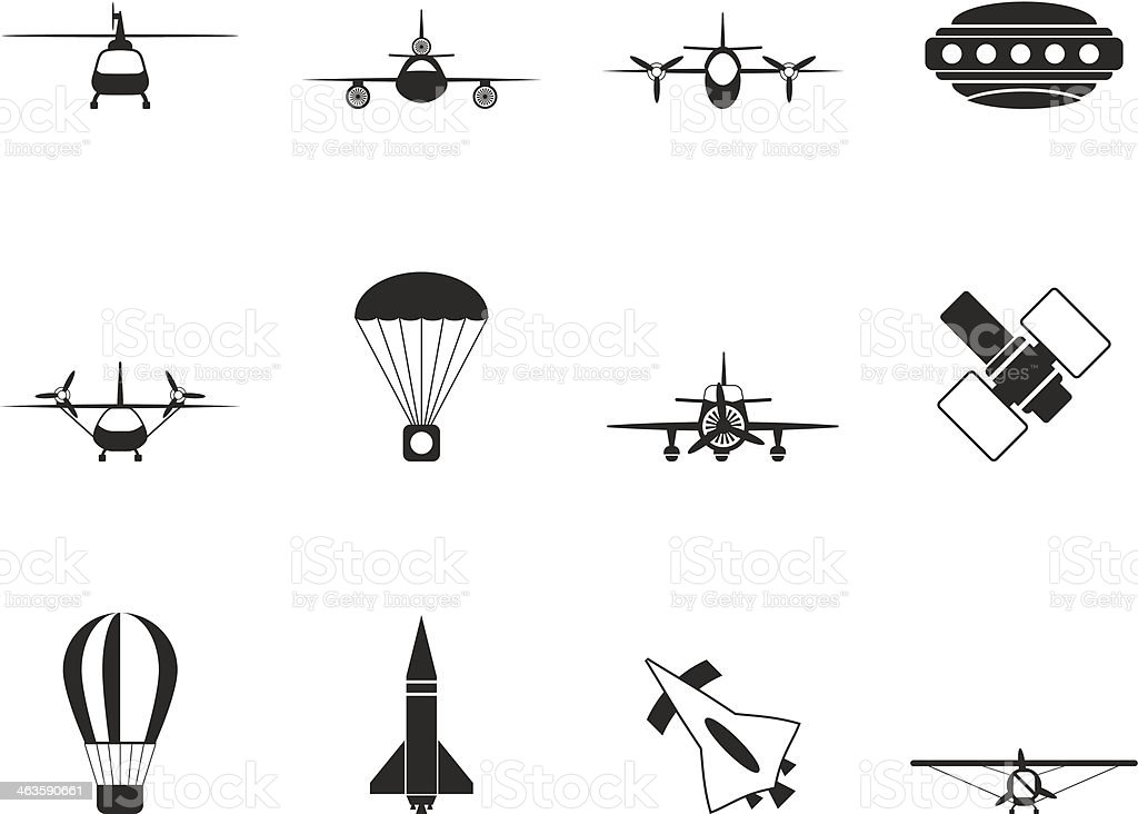 Silhouette different types of Aircraft Illustrations and icons royalty-free stock vector art