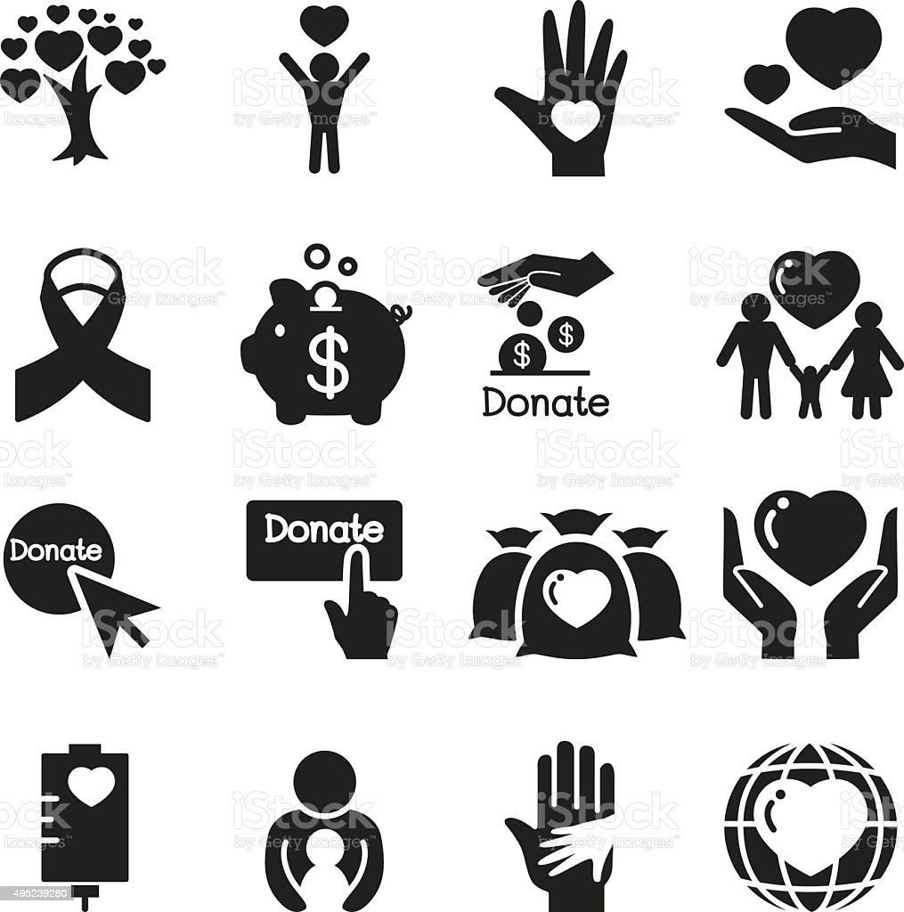 Silhouette Donation & giving icons set vector art illustration