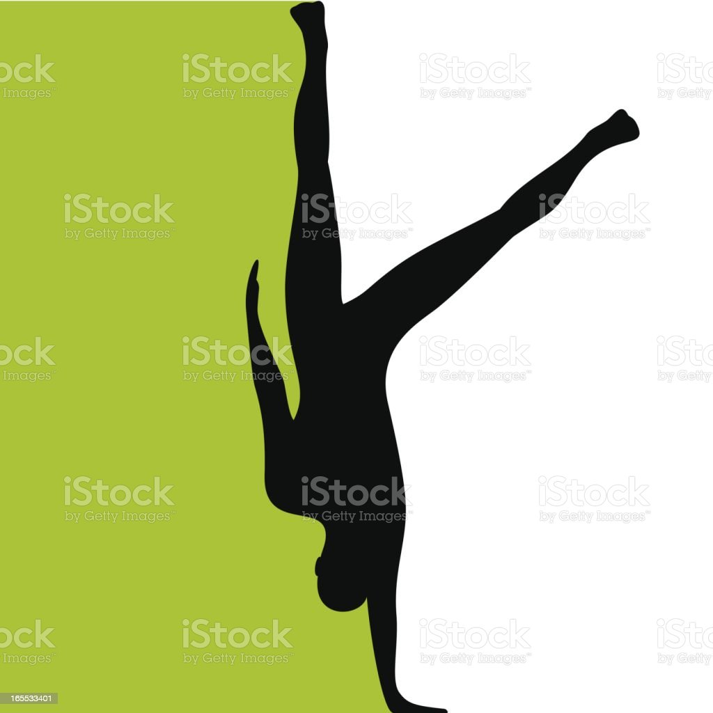 A silhouette drawing of a person balancing on a single hand royalty-free stock vector art
