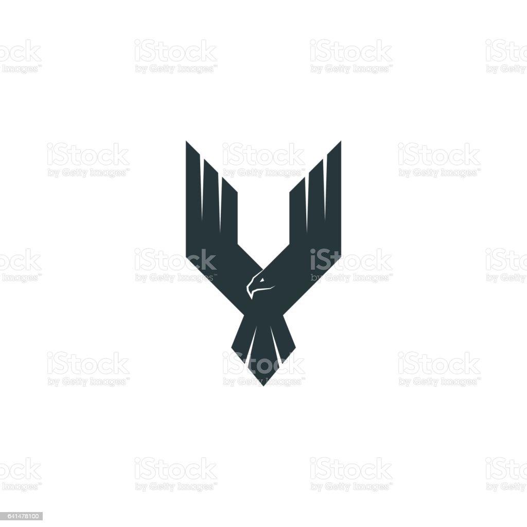 Silhouette eagle logo predator vector art illustration