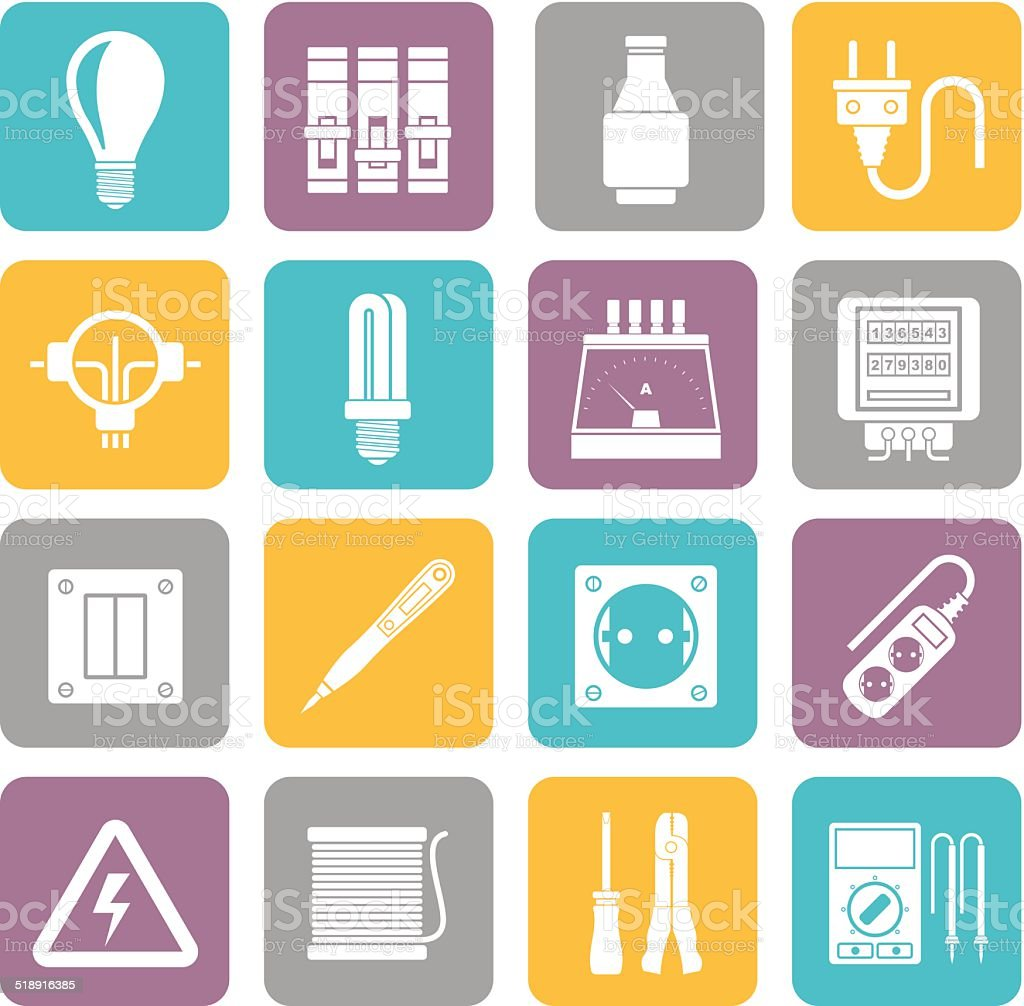Silhouette Electrical devices and equipment icons vector art illustration