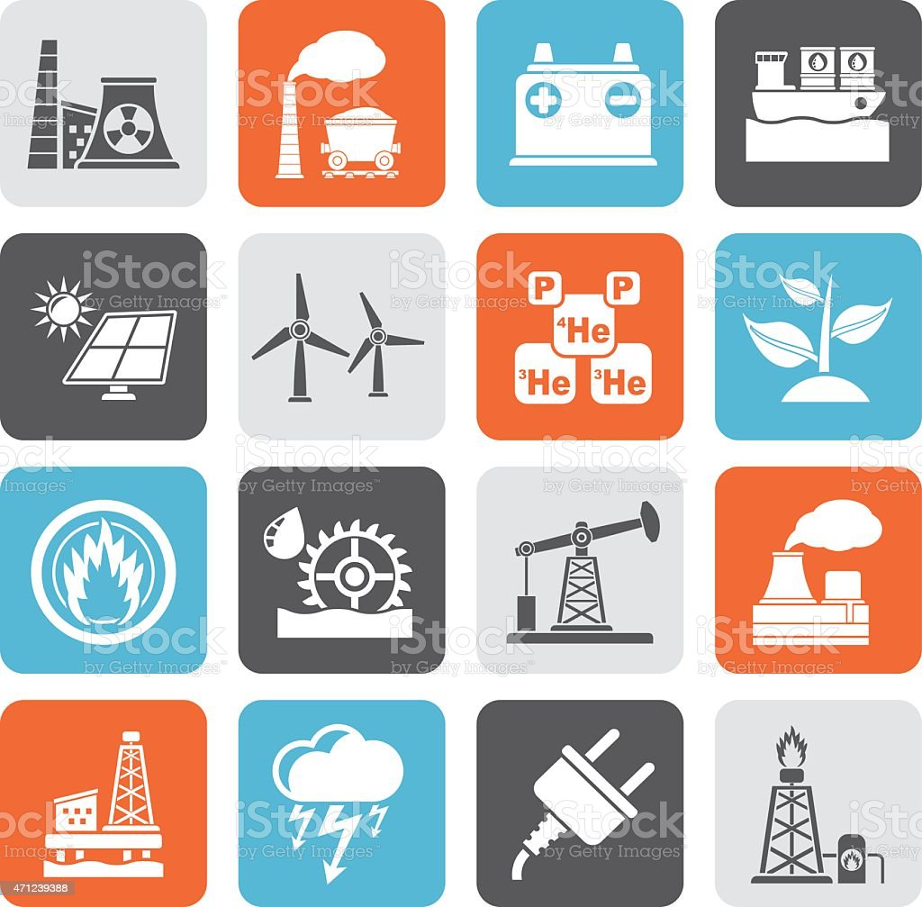 Silhouette Electricity and Energy source icons vector art illustration