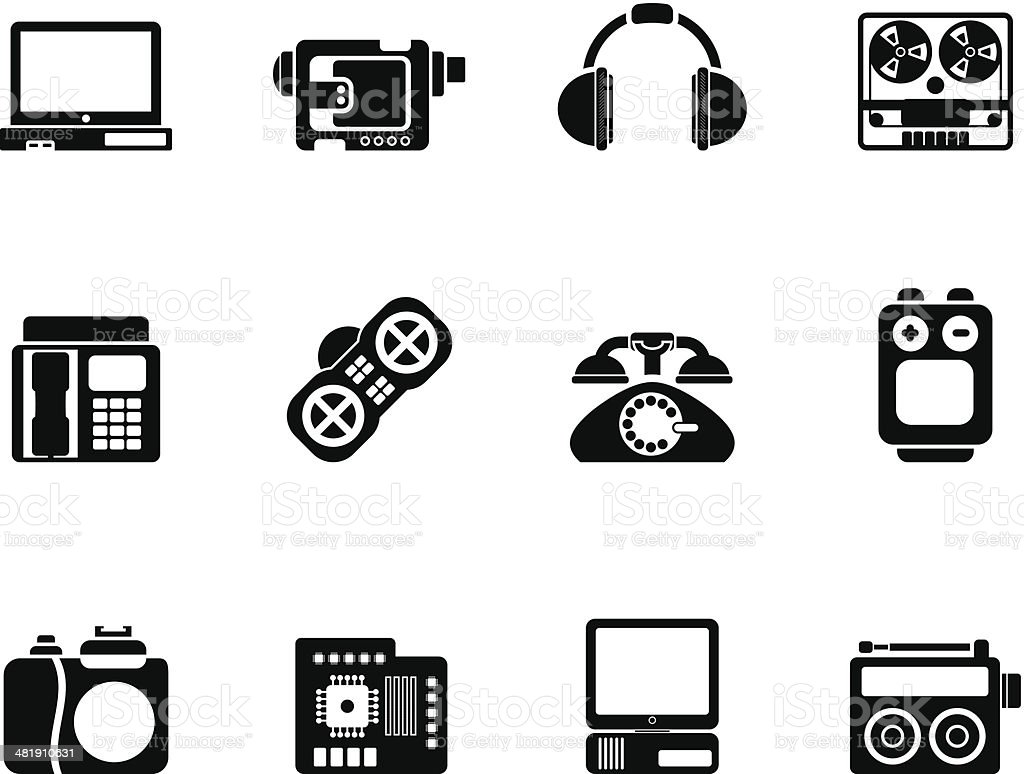 Silhouette electronics, media and technical equipment icons royalty-free stock vector art