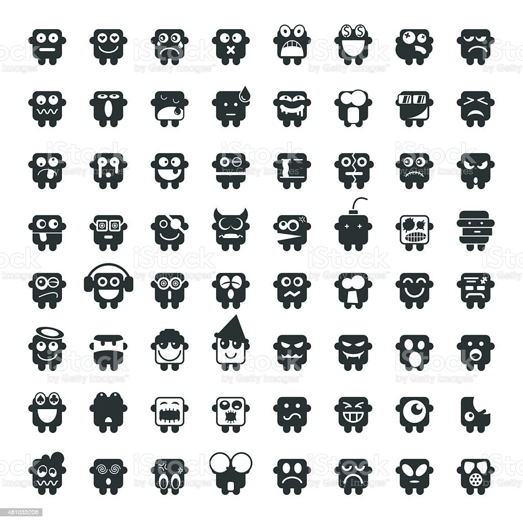 Silhouette Emoticons 64 icons vector art illustration