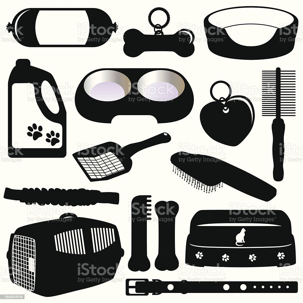 Silhouette (vector Icons) : Equipments for Pet  (Cats/Dogs) royalty-free stock vector art