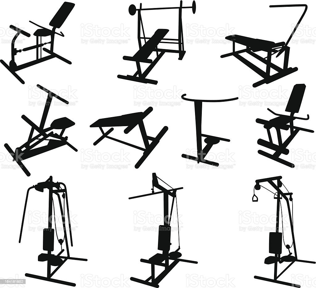 Silhouette : Exercise Equipments in a gym : Vector Icons royalty-free stock vector art