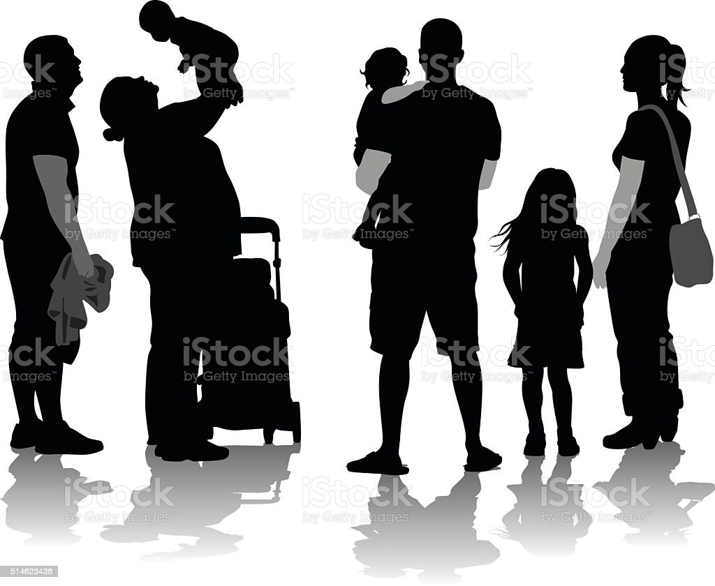 Silhouette Families vector art illustration