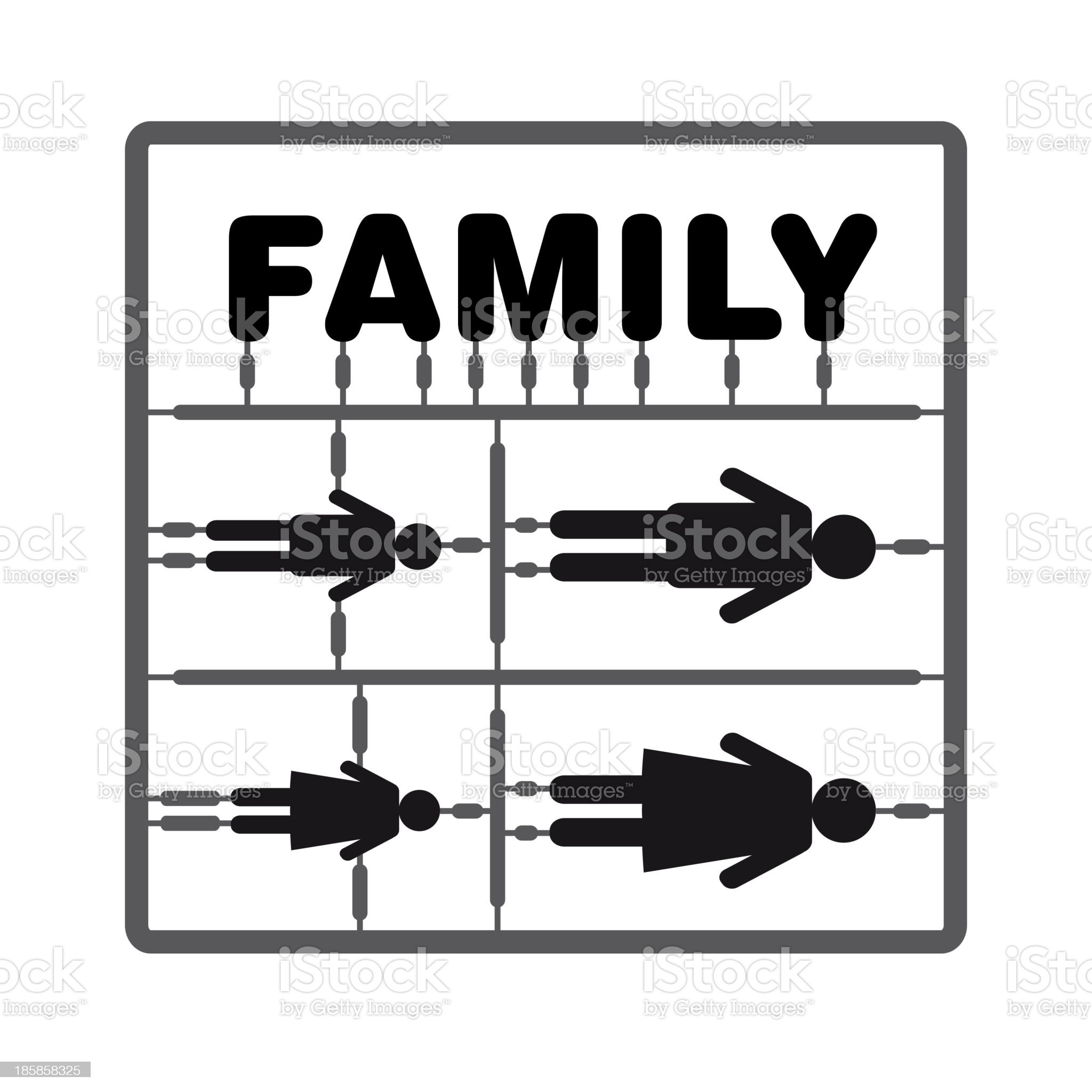 Silhouette family model kit with sign royalty-free stock vector art