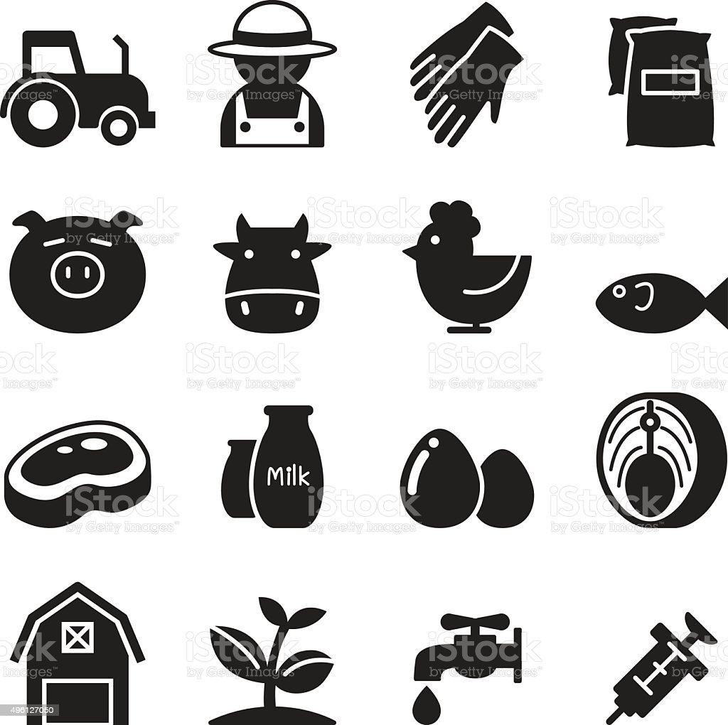 Silhouette Farm icons set vector art illustration