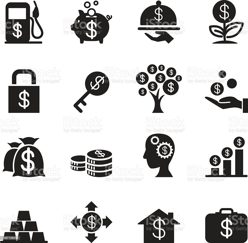Silhouette  Financial Investment icons set vector art illustration