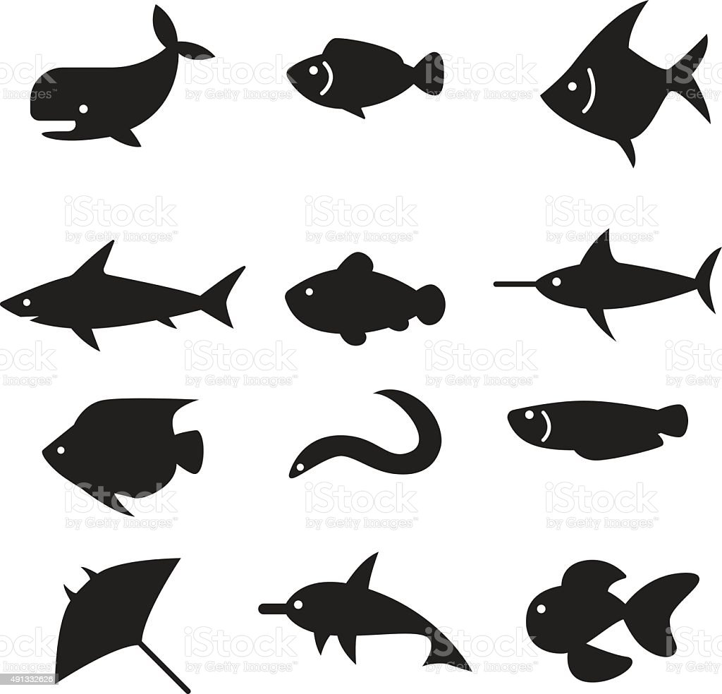 silhouette Fish icon set vector art illustration