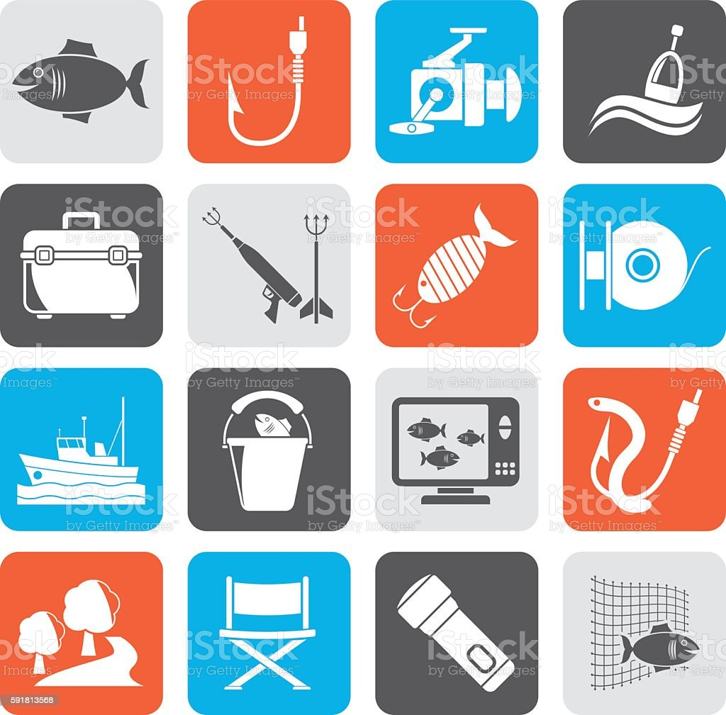 Silhouette Fishing industry icons vector art illustration