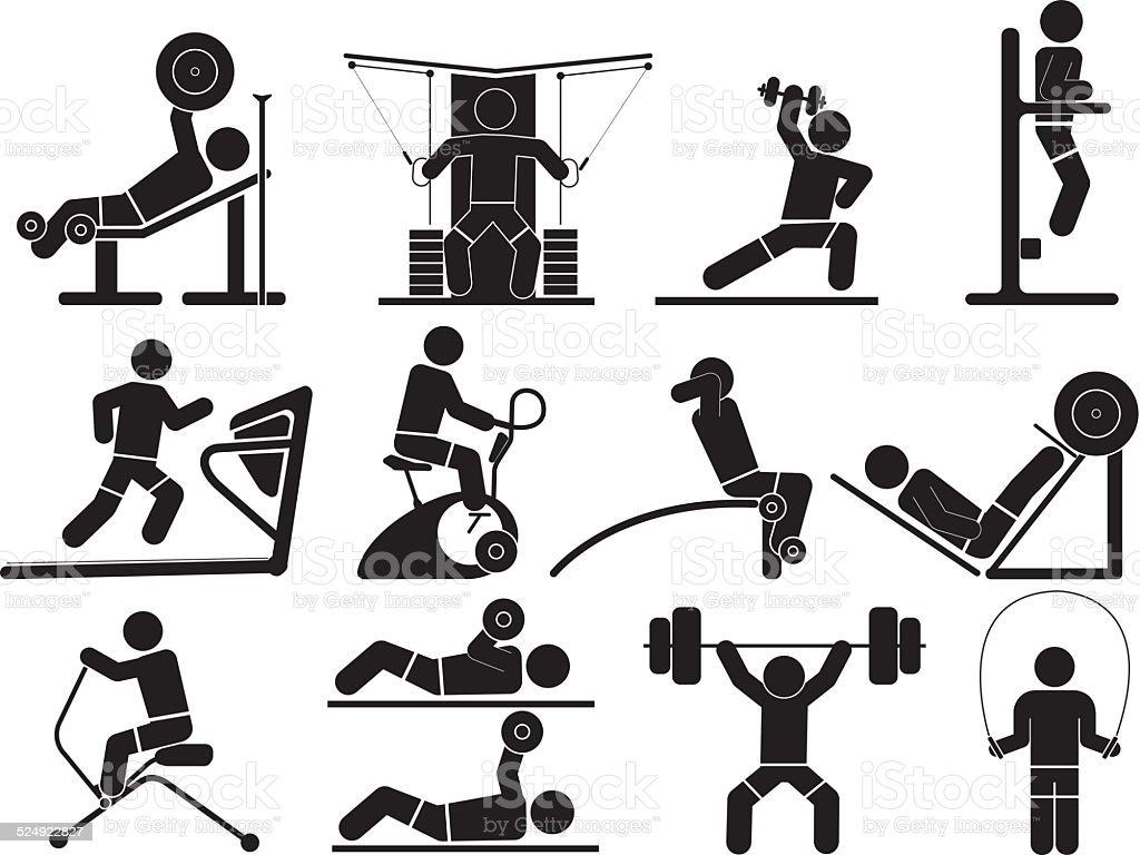 Silhouette Fitness icons vector art illustration