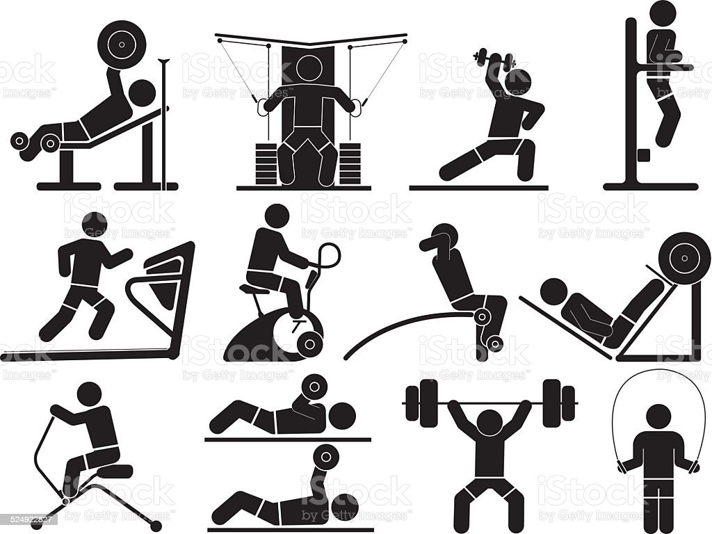 Silhouette Fitness icons vector art illustration