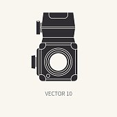 Silhouette flat vector icon with retro analog film cameras. Photography.