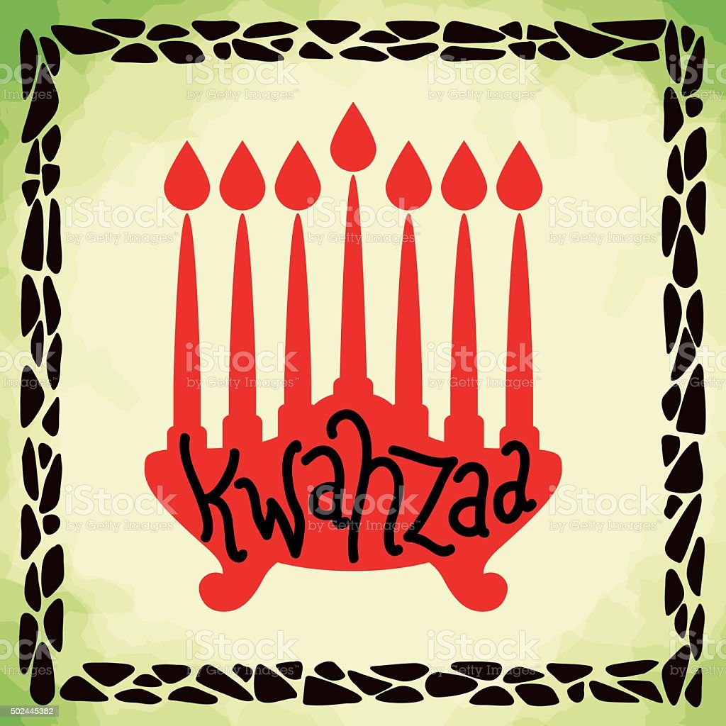 Silhouette Frame of Kwanzaa Candles. vector art illustration