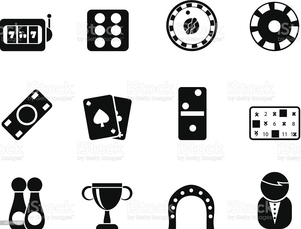 Silhouette gambling and casino Icons royalty-free stock vector art