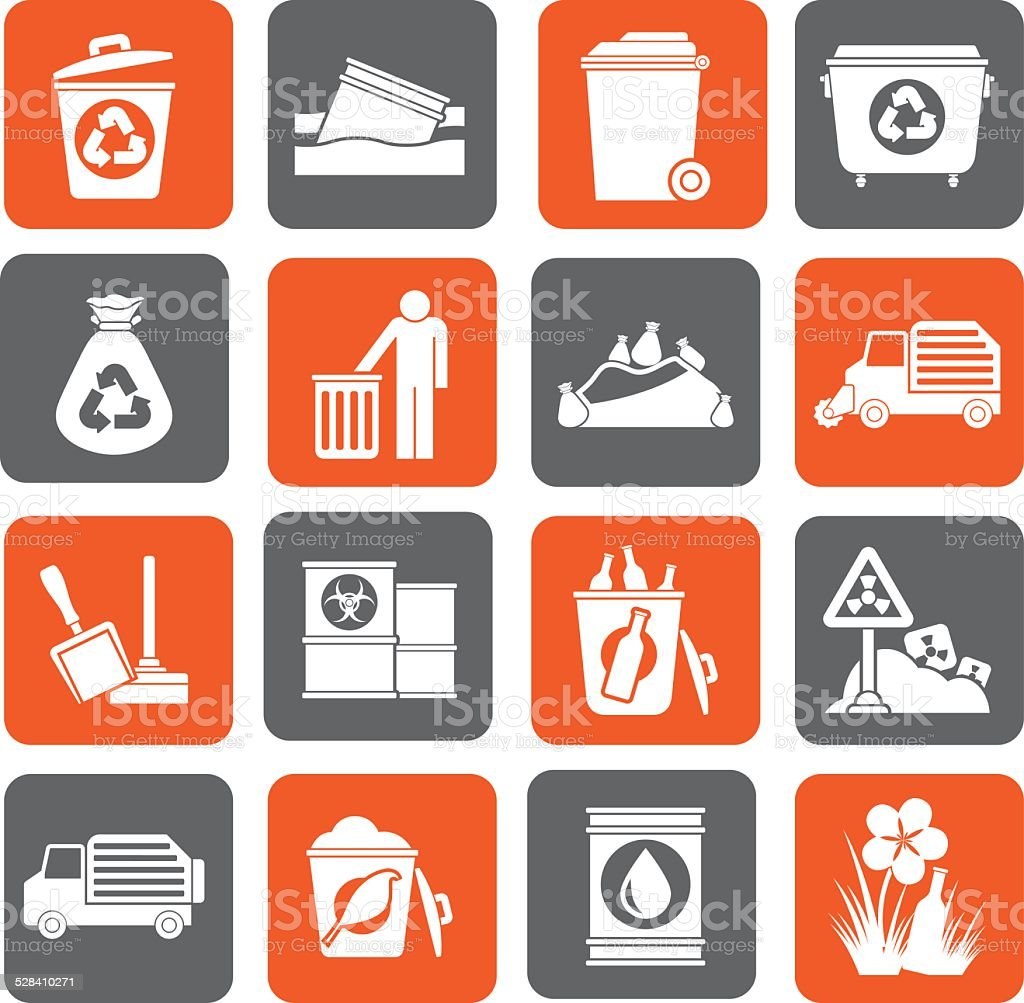 Silhouette Garbage and rubbish icons vector art illustration