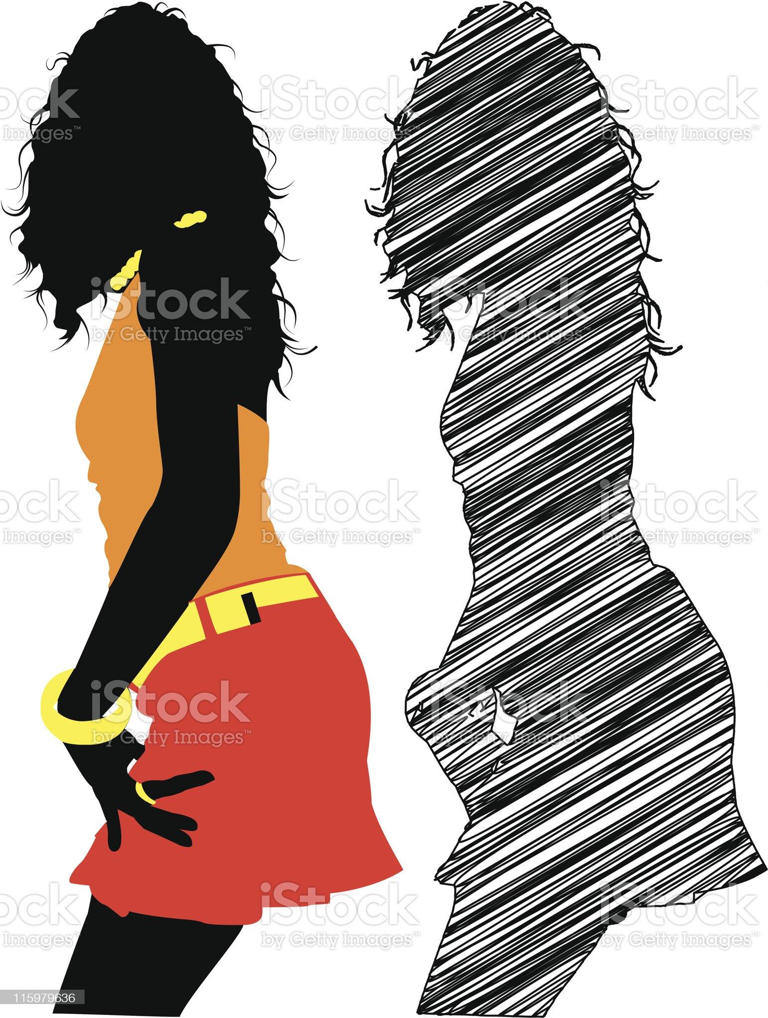 silhouette girl dancing royalty-free stock vector art