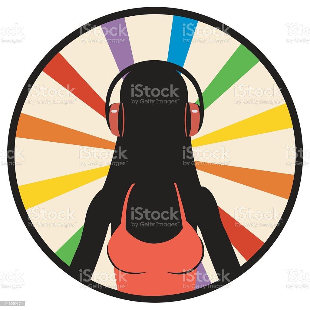silhouette girl in headphones royalty-free stock vector art