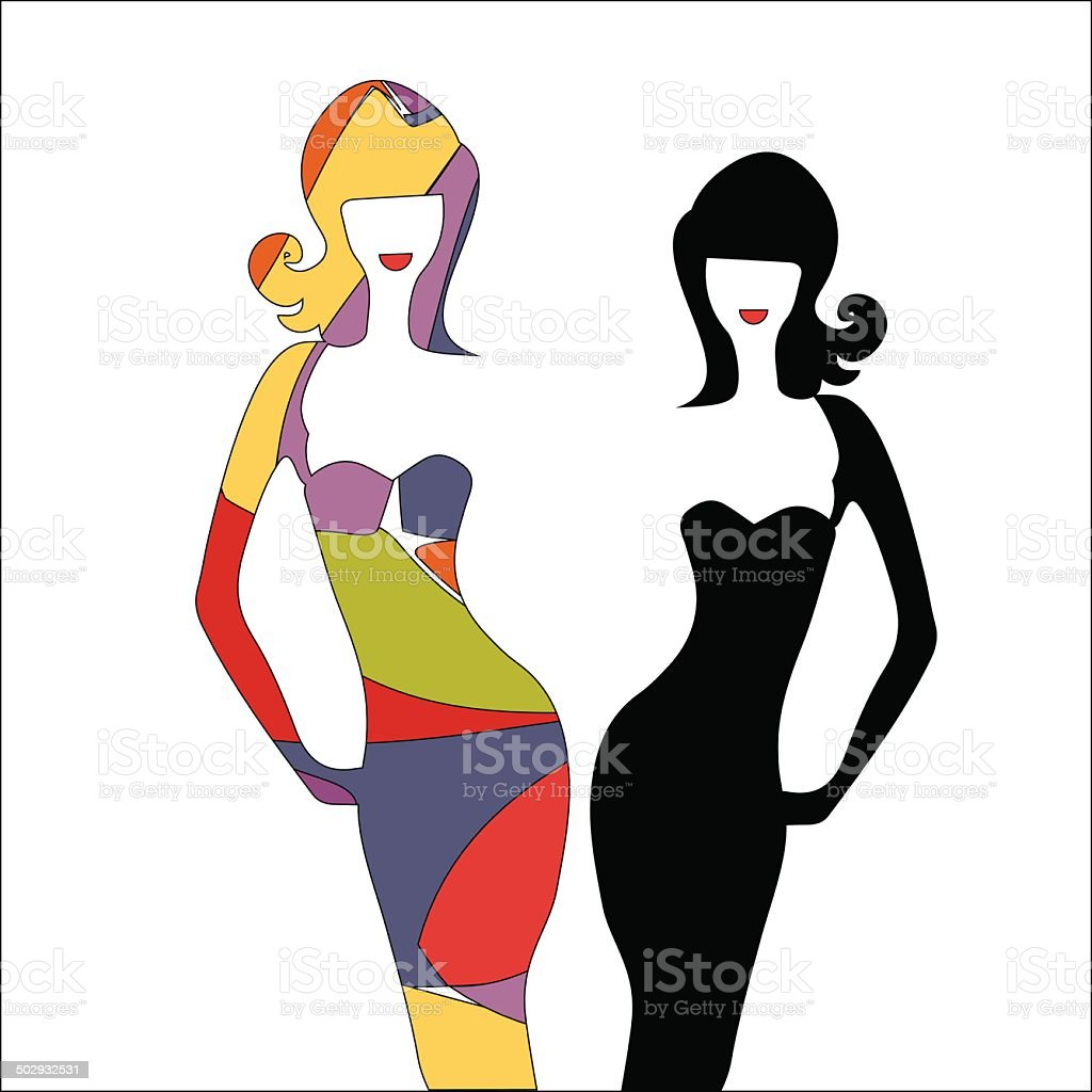 silhouette girl model sheath dress at party royalty-free stock vector art