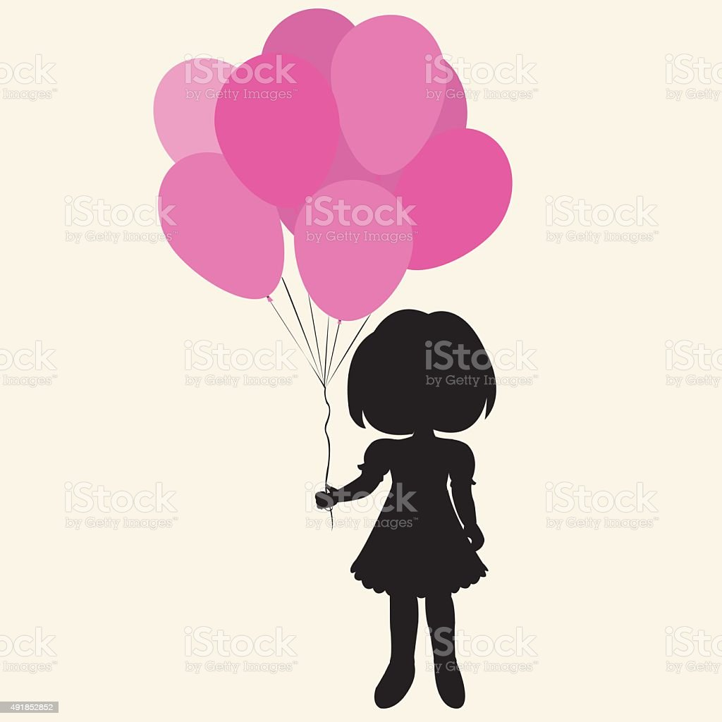 silhouette girl with balloons royalty-free stock vector art