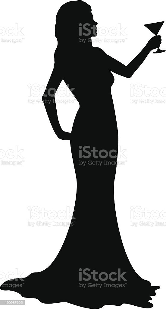 Silhouette girl with cocktail glass royalty-free stock vector art