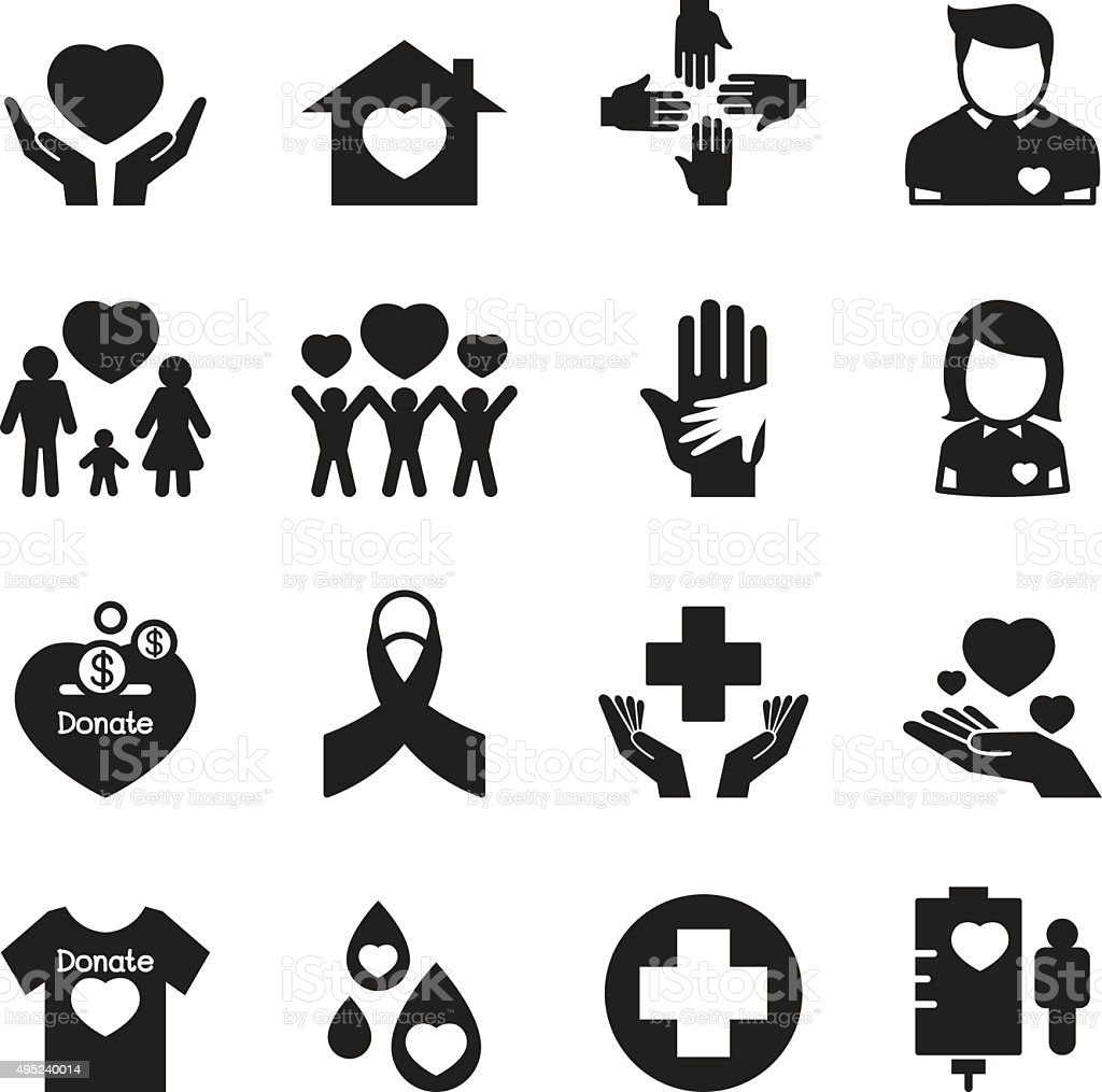 Silhouette Give and Protect icons Set vector art illustration