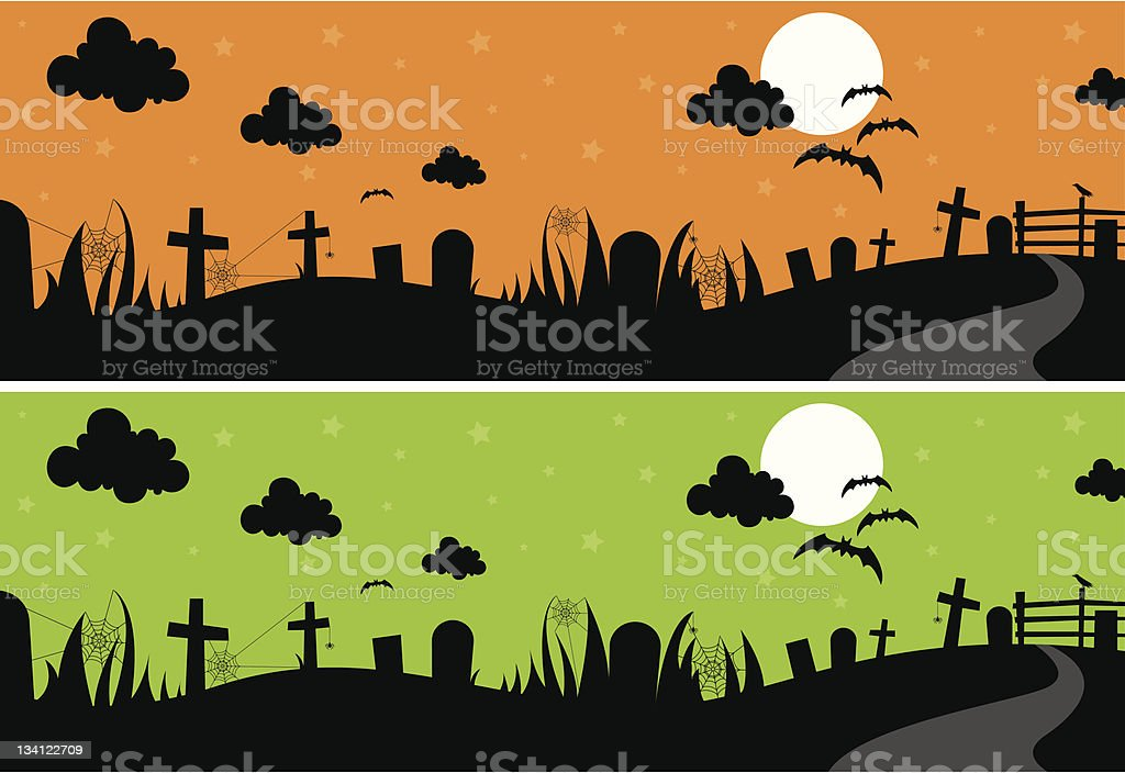 Silhouette Halloween Night Sky royalty-free stock vector art
