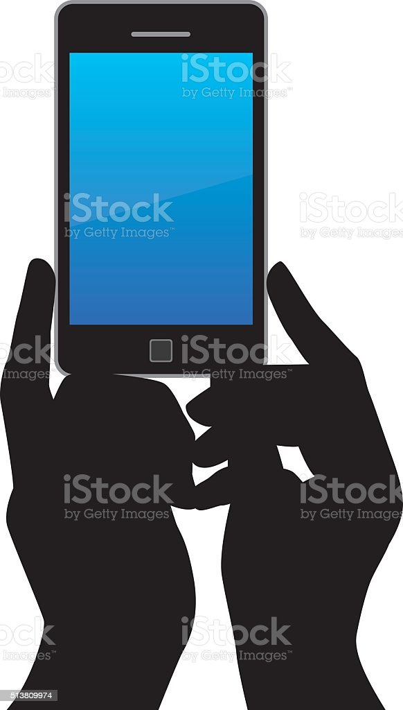 Silhouette Hands holding A Smart Phone vector art illustration