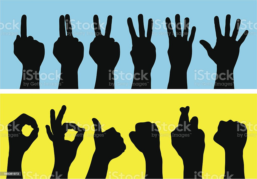 Silhouette hands using sign language to count vector art illustration