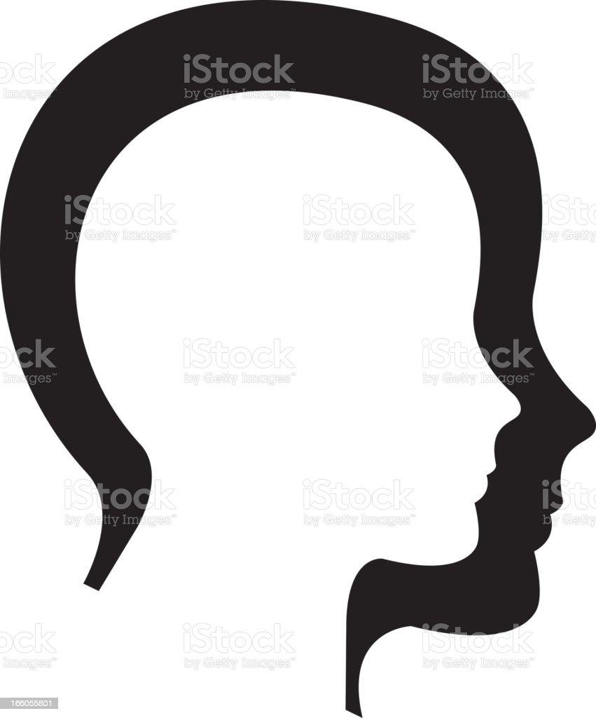 Silhouette head vector art illustration