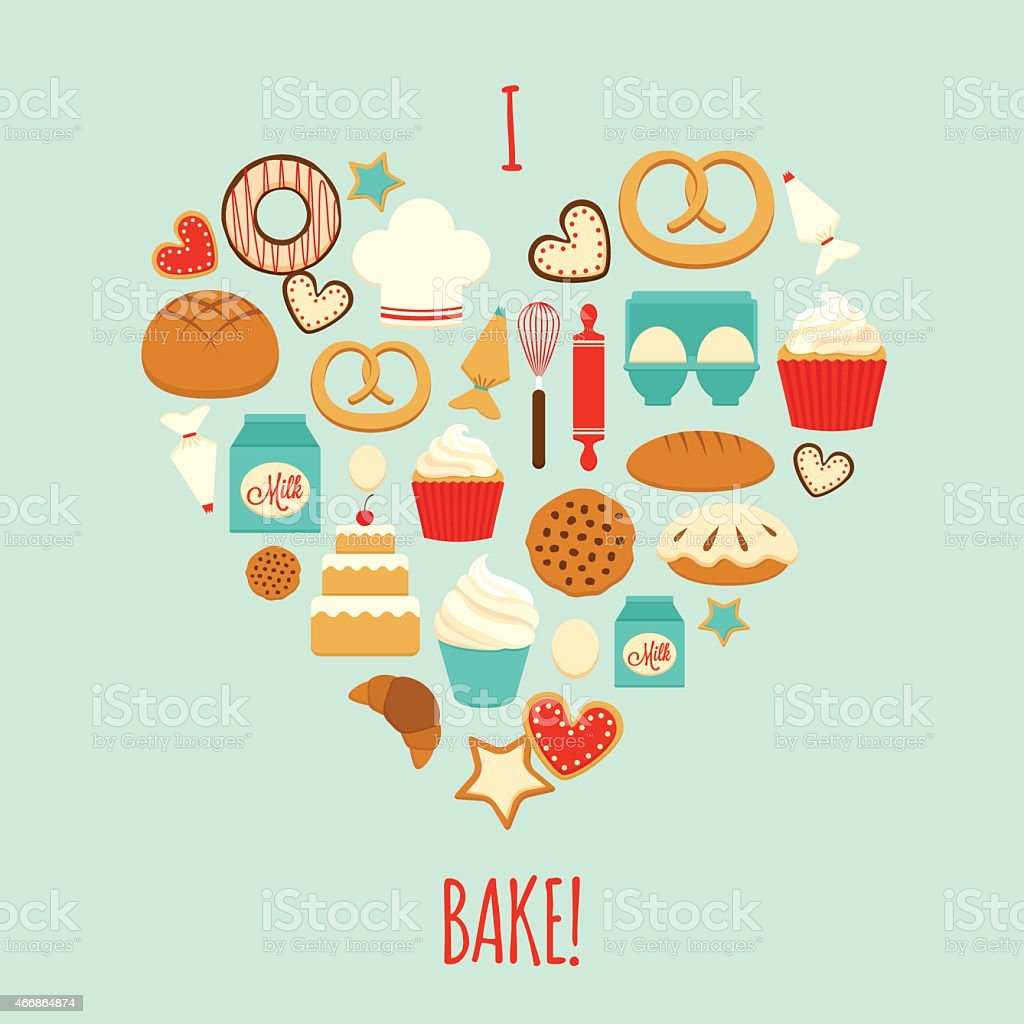 Silhouette heart with bakery icons vector art illustration
