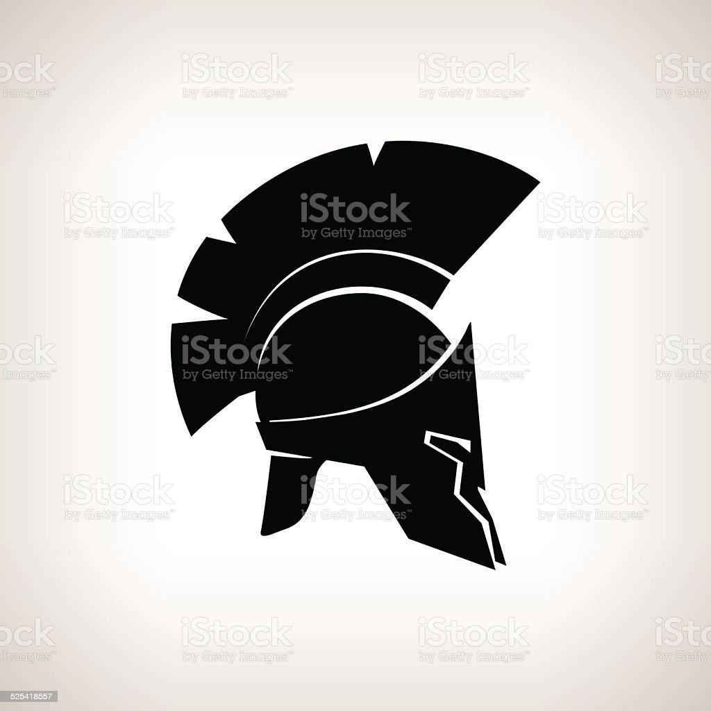 Silhouette helmet on a light background, vector illustration vector art illustration
