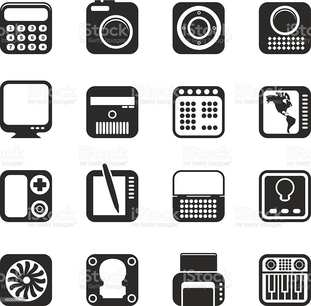 Silhouette Hi-tech and technology equipment royalty-free stock vector art