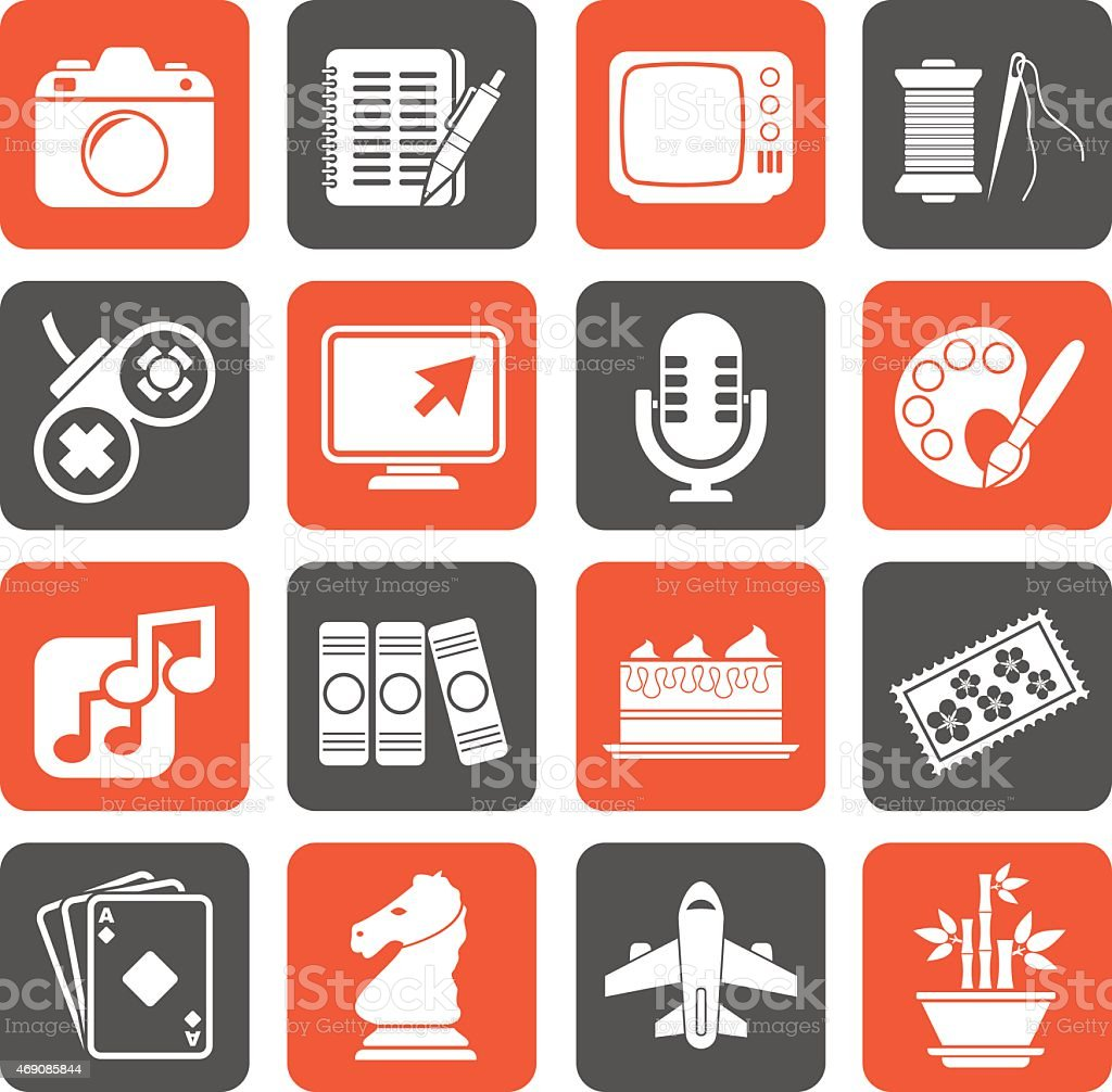 Silhouette Hobbies and leisure Icons vector art illustration