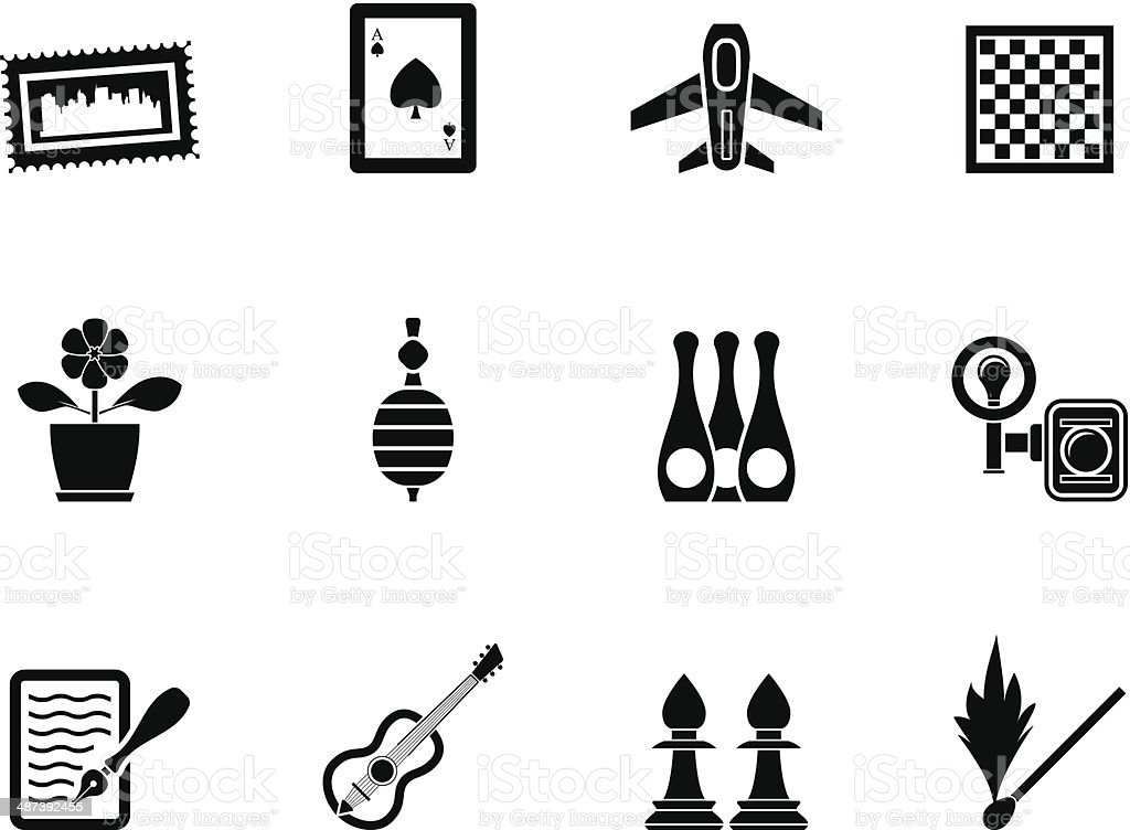 Silhouette Hobby, Leisure and Holiday objects royalty-free stock vector art