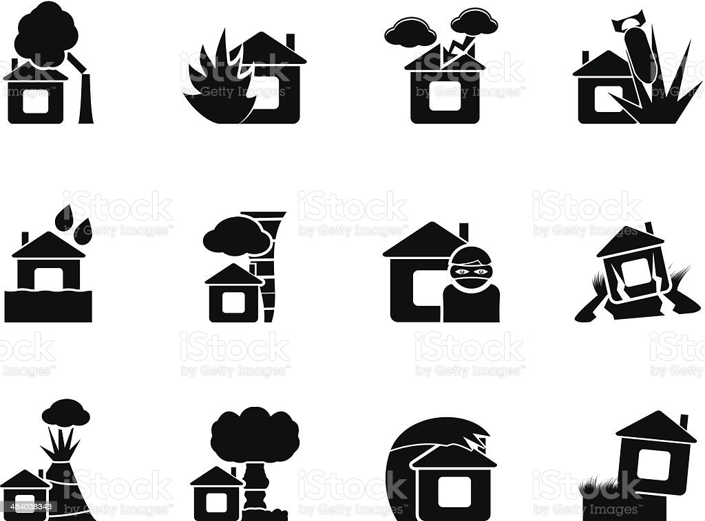 Silhouette home and house insurance and risk icons vector art illustration