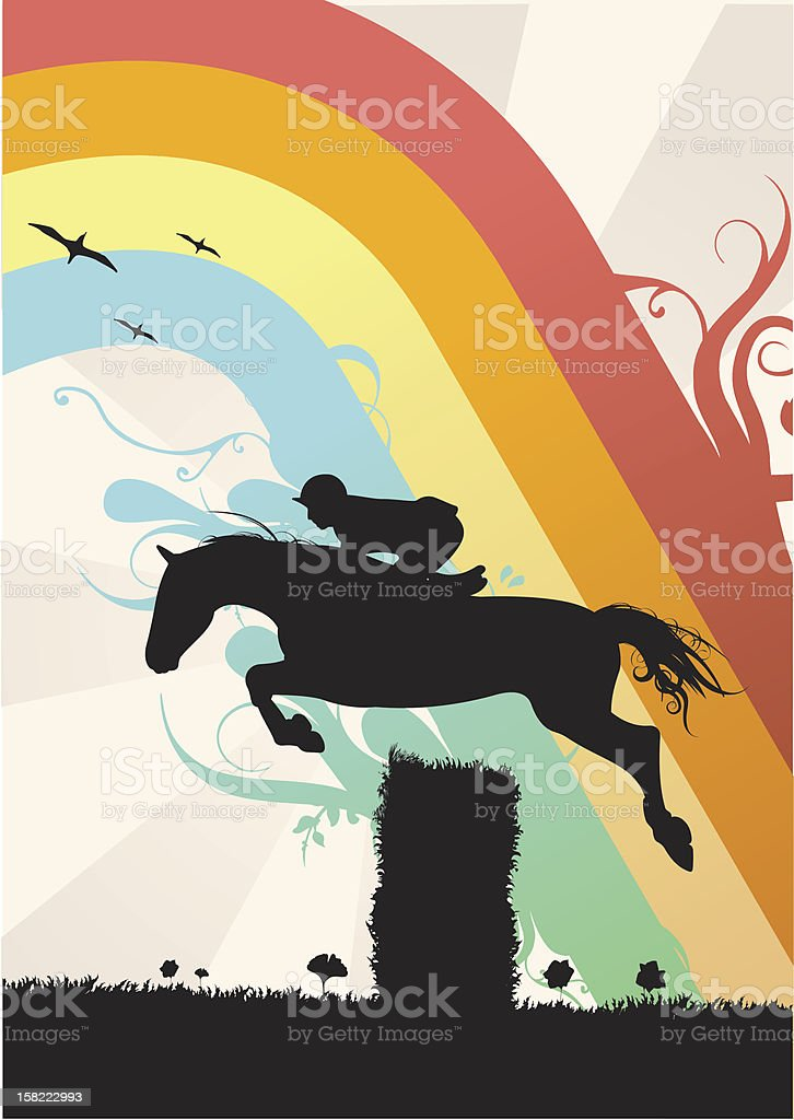 silhouette Horse Jumping - illustration stock photo