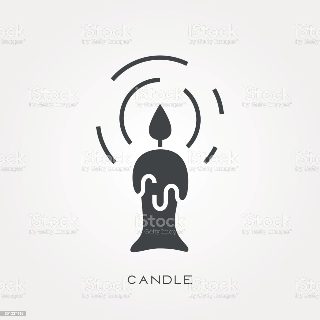 Silhouette icon candle vector art illustration